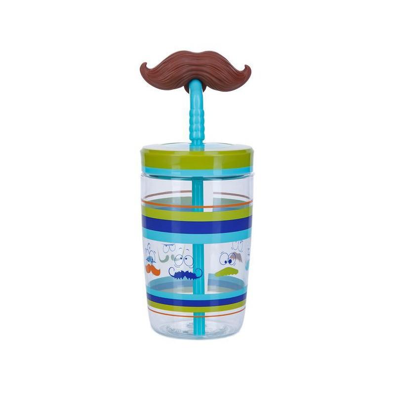 Vaikiška gertuvė Bueno Funny Straw Electric Blue Mustache CON1000-0521, 470 ml