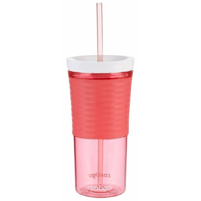 Gertuvė-kokteilinė su šiaudeliu Contigo Shake & Go, raudona, 540 ml 2095673