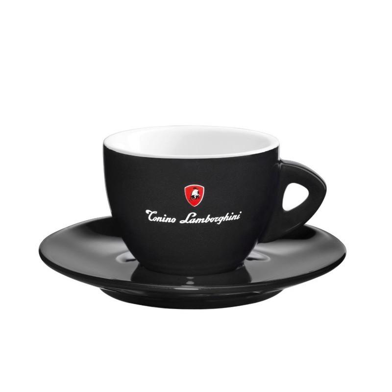 Keramikinis puodelis dvigubui espresso Lamborghini Caffe Doppio LAM546C, su lėkštute, juodas, 100 ml