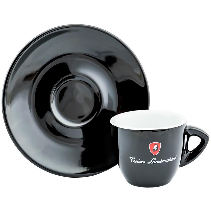 Keramikinis puodelis espresso kavai Lamborghini LAM540C su lėkštute, juodas, 55 ml