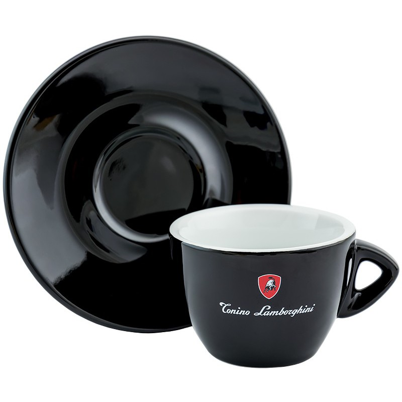 Keramikinis puodelis cappuccino kavai Lamborghini Cappuccino LAM545C su lėkštute, juodas, 180 ml