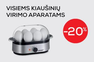 Visiems kiaušinių virimo aparatams -20% nuolaida